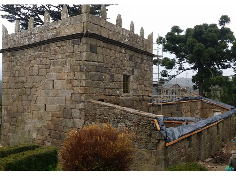 Feb 2021 Phase 0, Dismantling the ruined structure, cleaning and archeological works on the Pazo has just finished.
